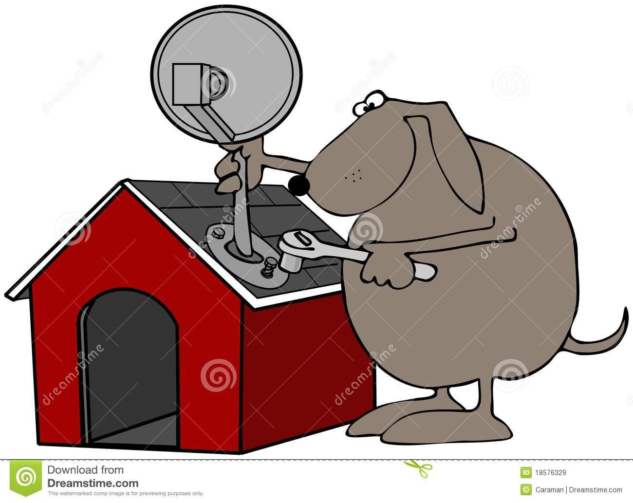 Satellite Dish House Roof Stock Illustrations.