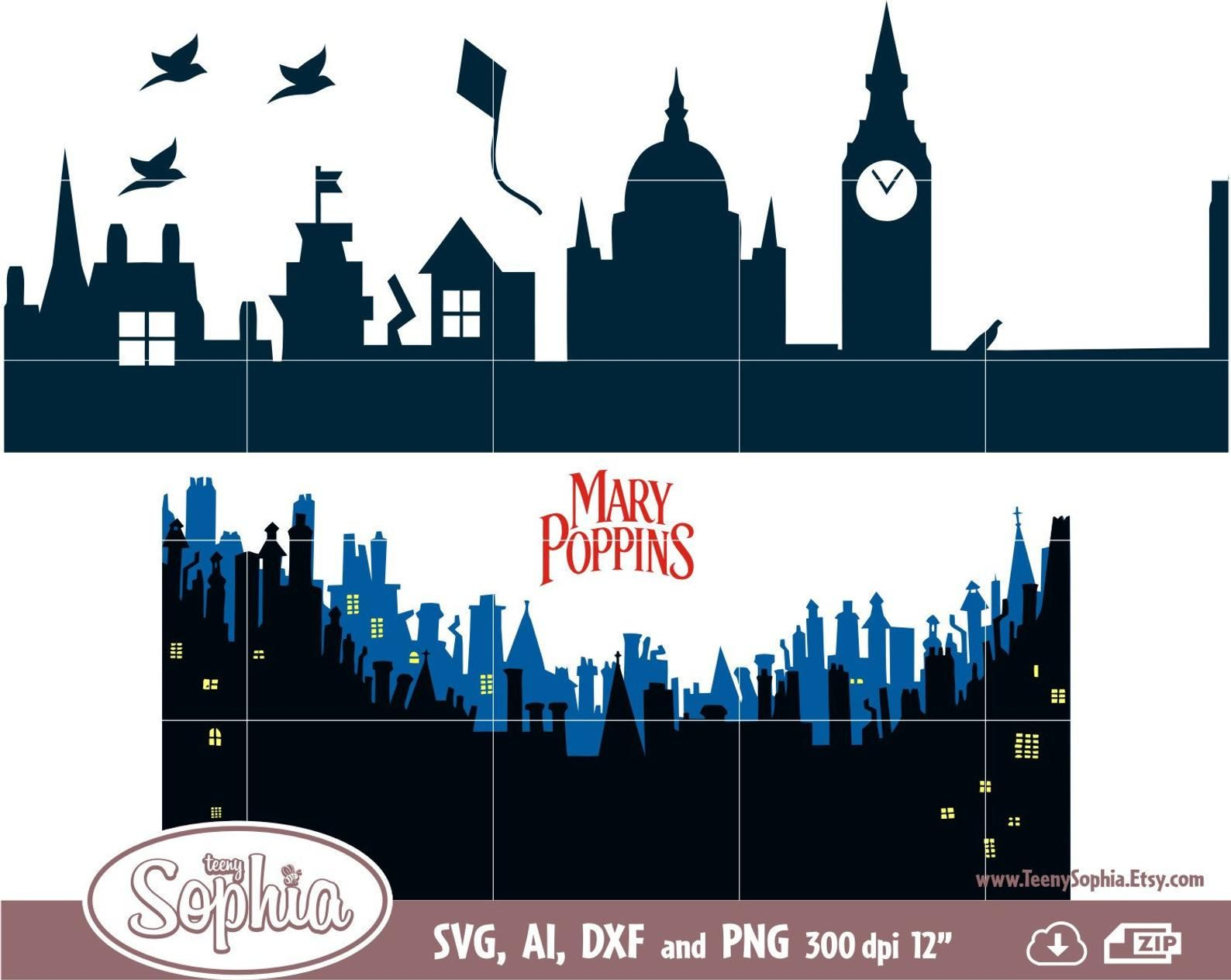 Disney Mary Poppins Returns rooftop 5 Cliparts format Svg.