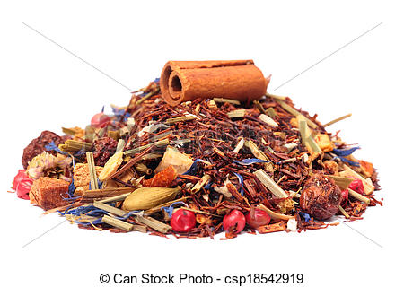 Stock Photography of rooibos tea with cinnamon and fruits isolated.