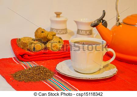 Stock Photo of Rooibos tea and rusks.