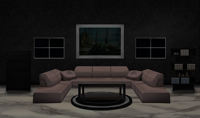 Office and living room backgrounds.