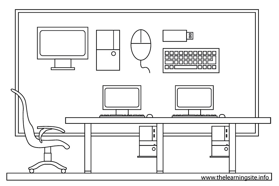 Computer Room Clipart Black And White.