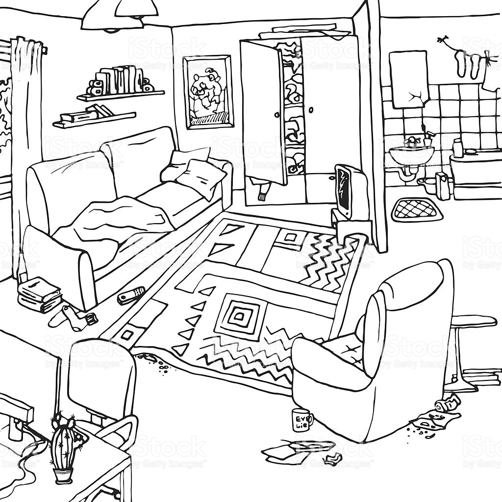 Messy Bedroom Clipart Black And White.