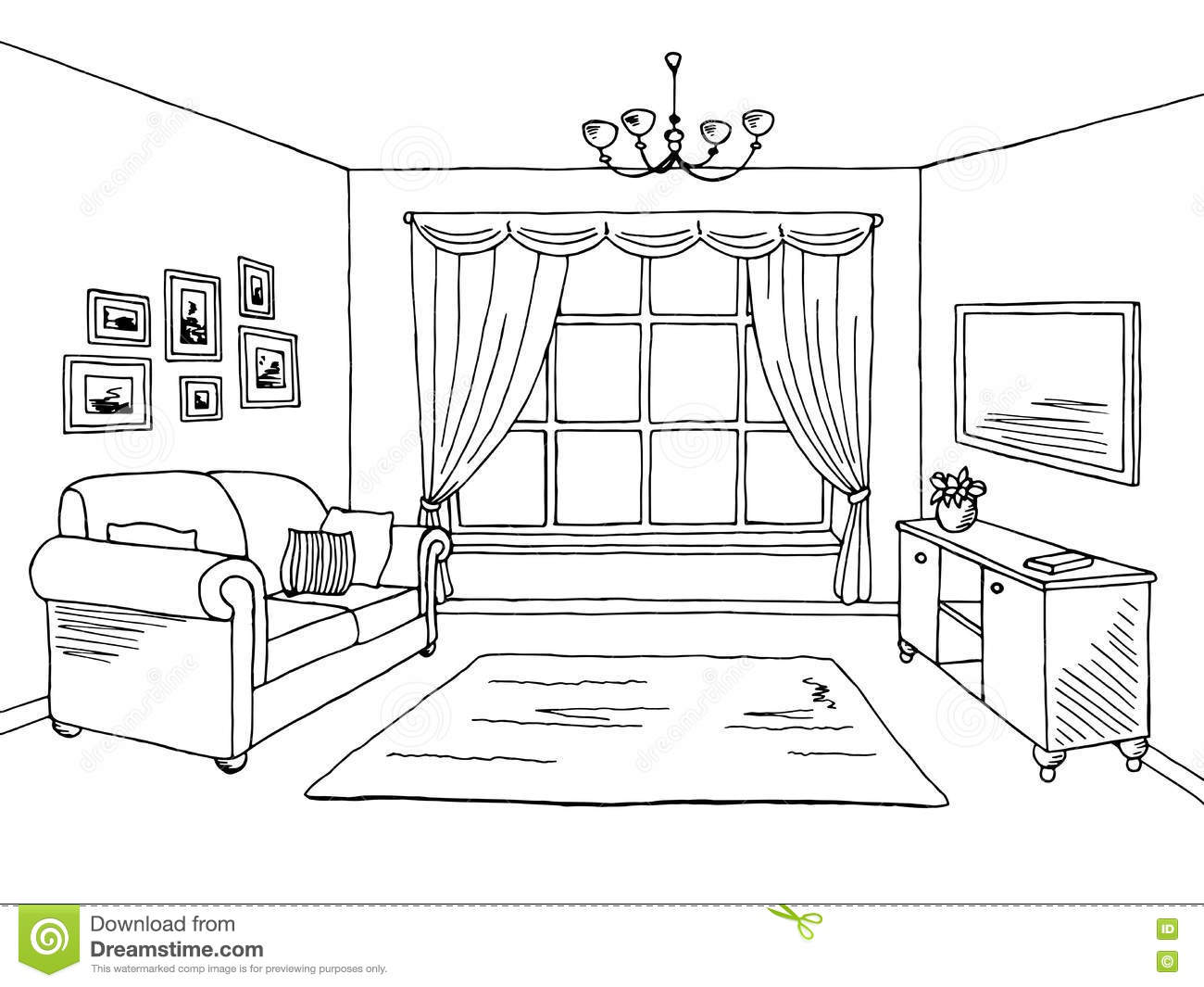 Living room clipart black and white.