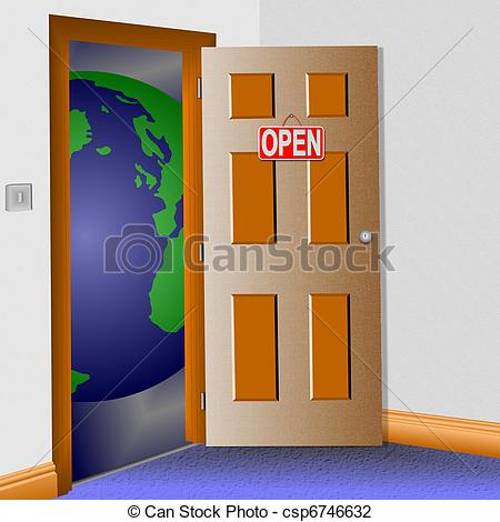 In clipart open door to room.