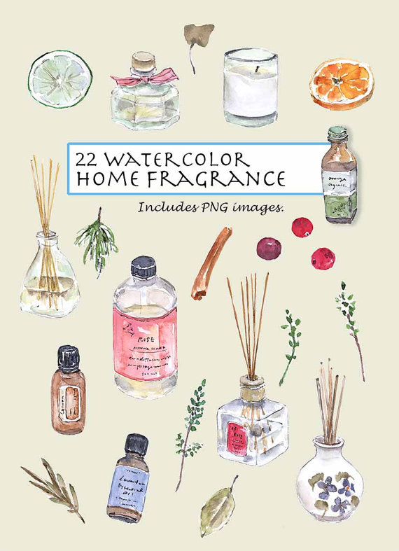 CLIP ART Watercolor Home Fragrance Set. 22 Images. by Vianneart.