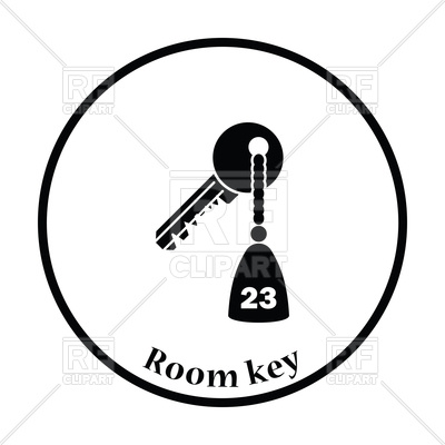 Thin circle design of hotel room key icon Vector Image #118240.