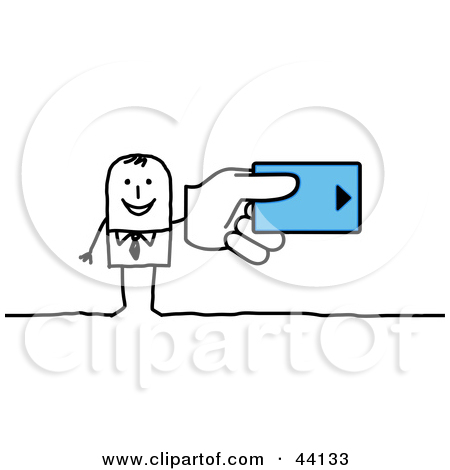 Clipart Illustration of a Stick Businessman Holding A Hotel Room.