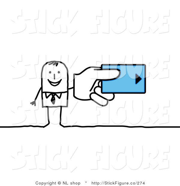Clip Art of a Stick Figure Businessman Holding a Blue Hotel Room.