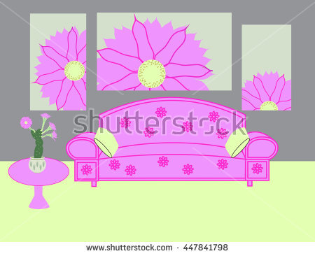 Pink Living Room With Sofa And Modular Picture. Rendering Of.