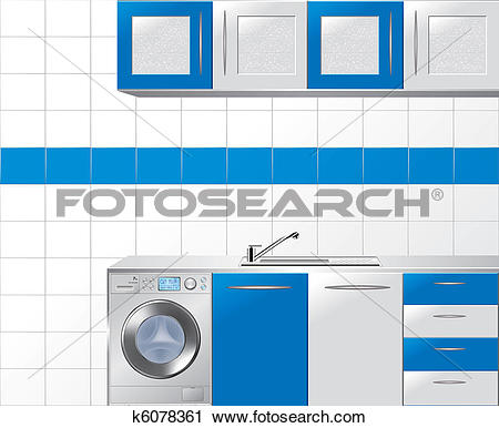 Clipart of Modular Kitchen in Blue and Silver k6078361.