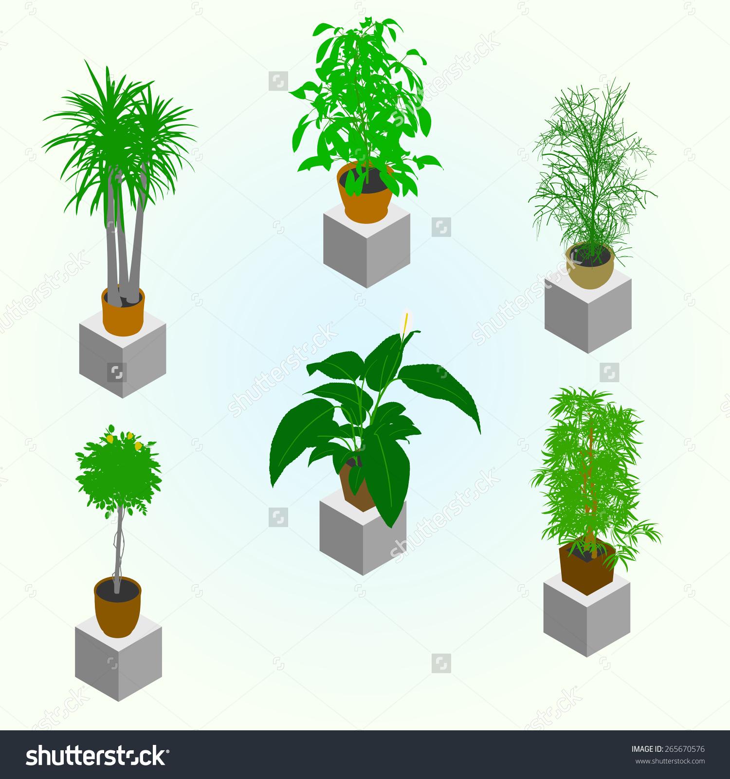 Planting Greenery Isometric World Interior Set Stock Vector.