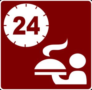 Hotel Icon 24hr Room Service Clip Art.