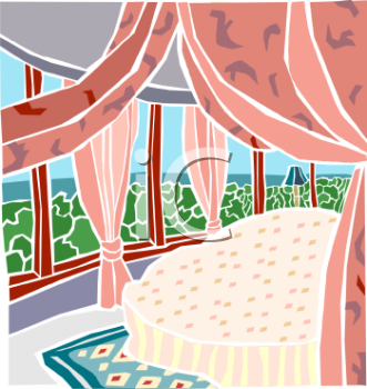 Royalty Free Clip Art Image: Draped Canopy Bed in a Room with a View.