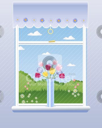Room with a view stock vector.