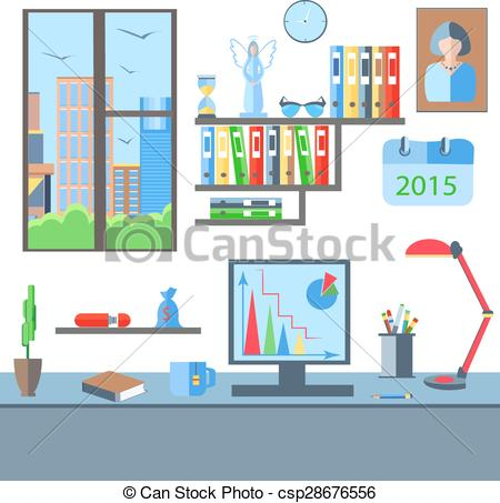 Clipart Vector of Room with a view from the window table, shelf.