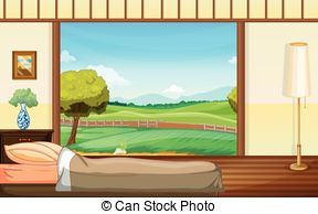 EPS Vector of Room Interior with Scenery Picture.