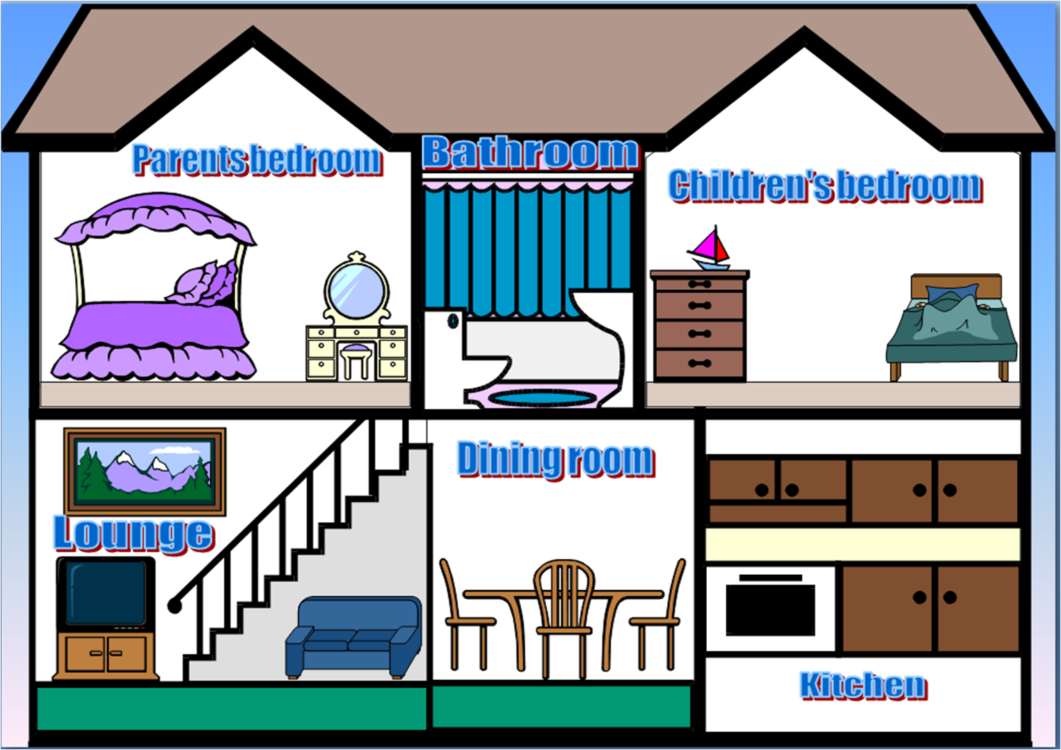 Different Rooms In A House Clipart.