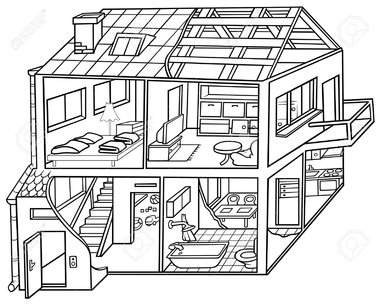 Rooms Of The House Clipart Black And White.
