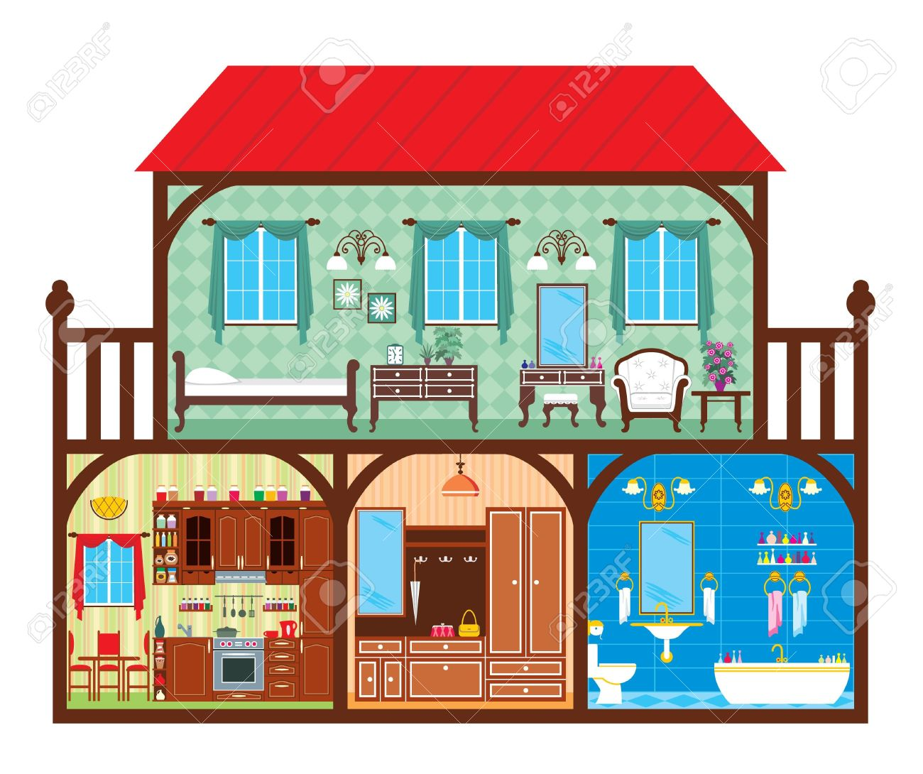 House In A Cut Which Depicts The Living Rooms. Royalty Free.