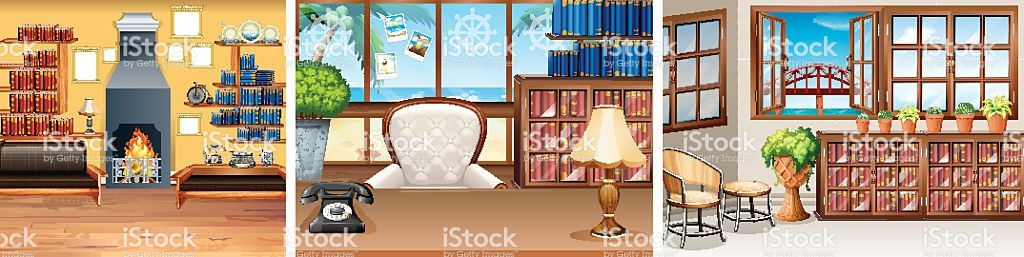 Three Rooms In The House stock vector art 636021566.