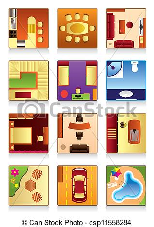 Vector of Furniture of the house's rooms.
