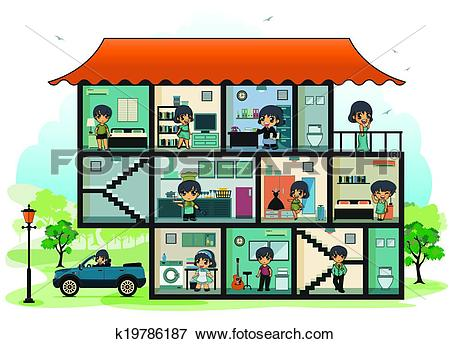 Clip Art of Various rooms in the house k19786187.