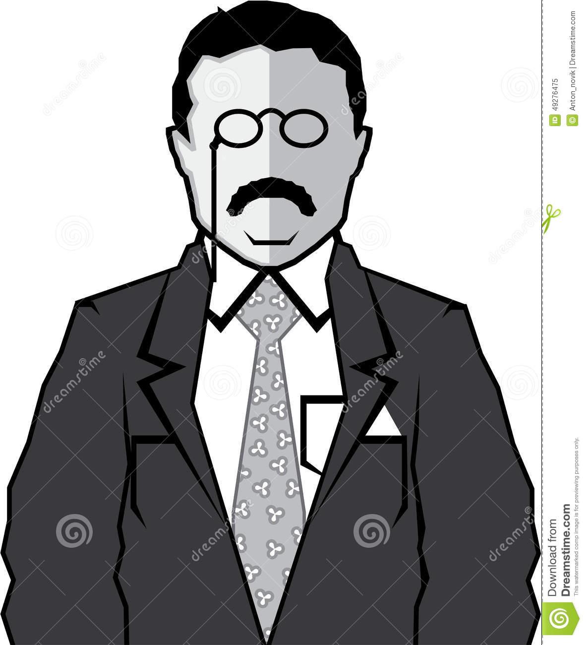 Theodore Roosevelt Cartoon Stock Vector.
