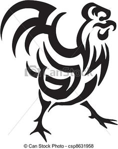 rooster clipart black and white.