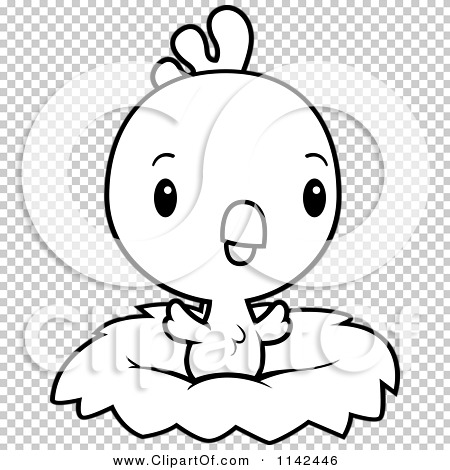 Cartoon Clipart Of A Black And White Cute Baby Rooster Chick In A.