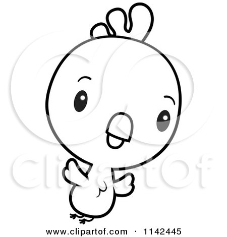 Cartoon Clipart Of A Black And White Cute Baby Rooster Chick.