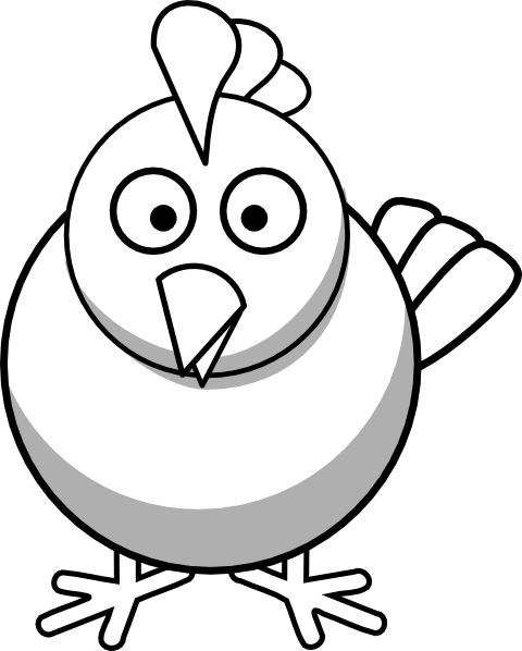Rooster Clipart Black And White Cute.