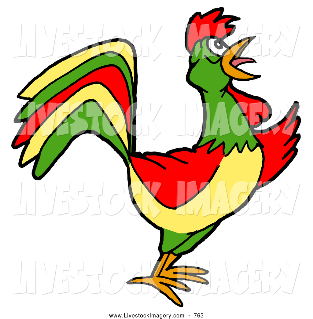 Clip Art of a Colorful Farm Rooster Crowing at Dawn on White.