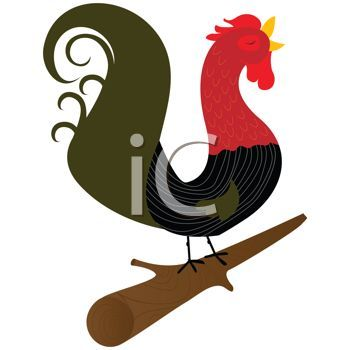 Stylized Rooster Crowing on a Log.