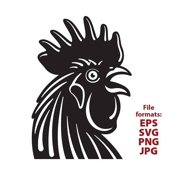 Rooster chicken rooster head clipart black and white.