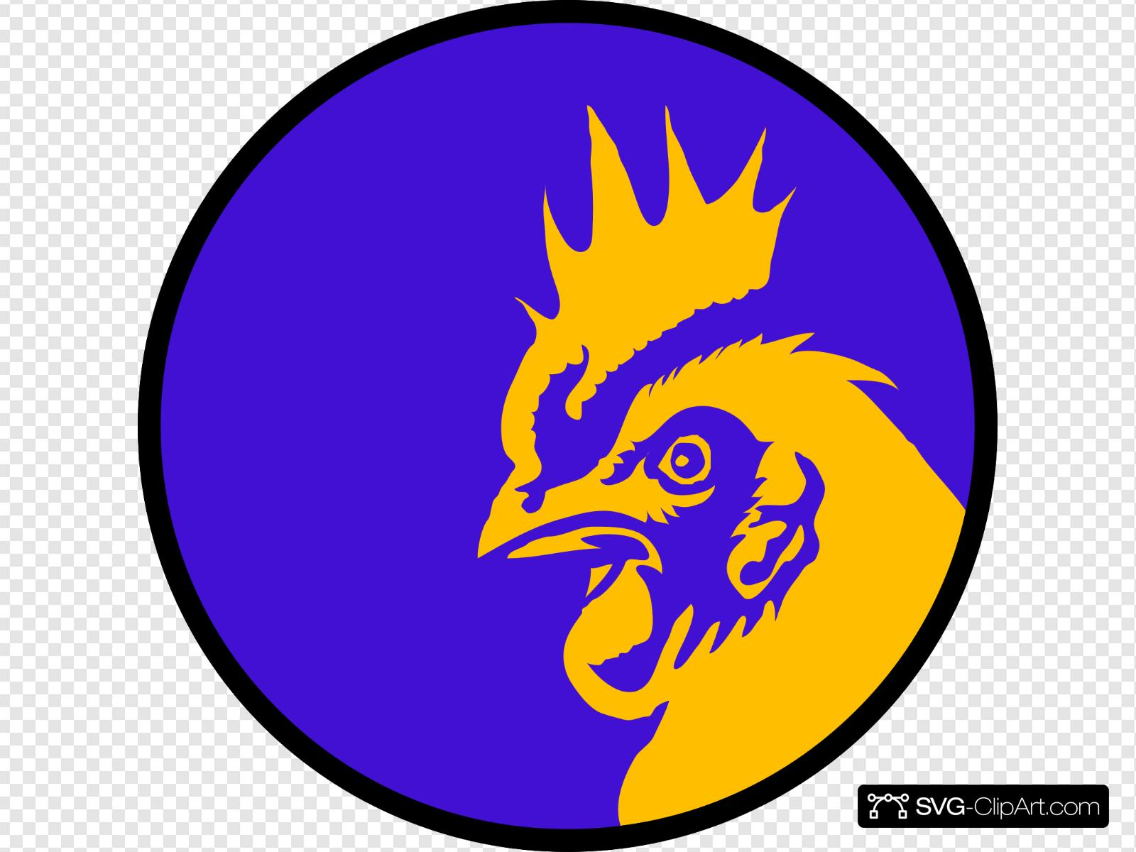 Rooster Head Circle Clip art, Icon and SVG.