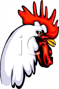 A Colorful Cartoon of a Rooster Head.