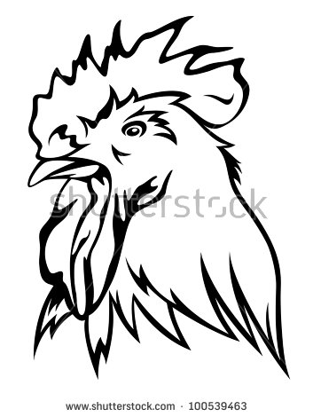 Rooster Head Vector Illustration Black Outline Stock Vector.