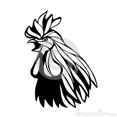 Rooster Head Outline Illustration Stock Vector.