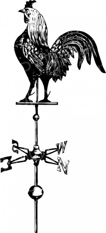 Vintage Garden Weather Vane Rooster Clip Art.