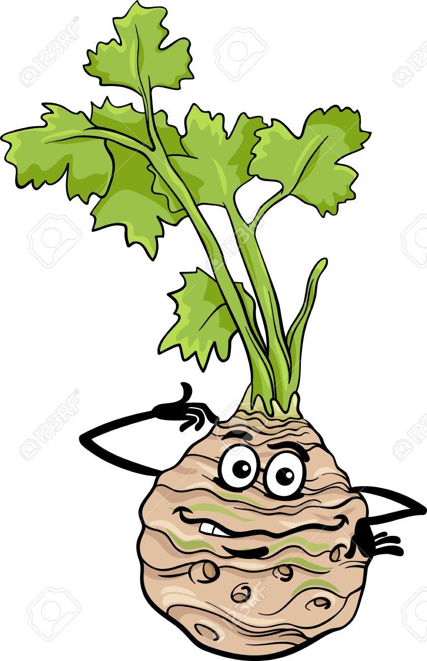 Cartoon Illustration Of Funny Comic Celery Root Vegetable Food.