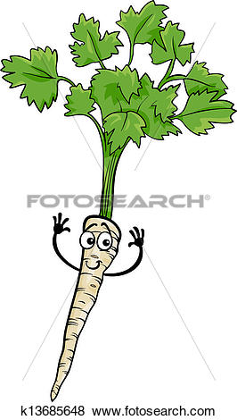 Clip Art of cute parsley root vegetable cartoon illustration.