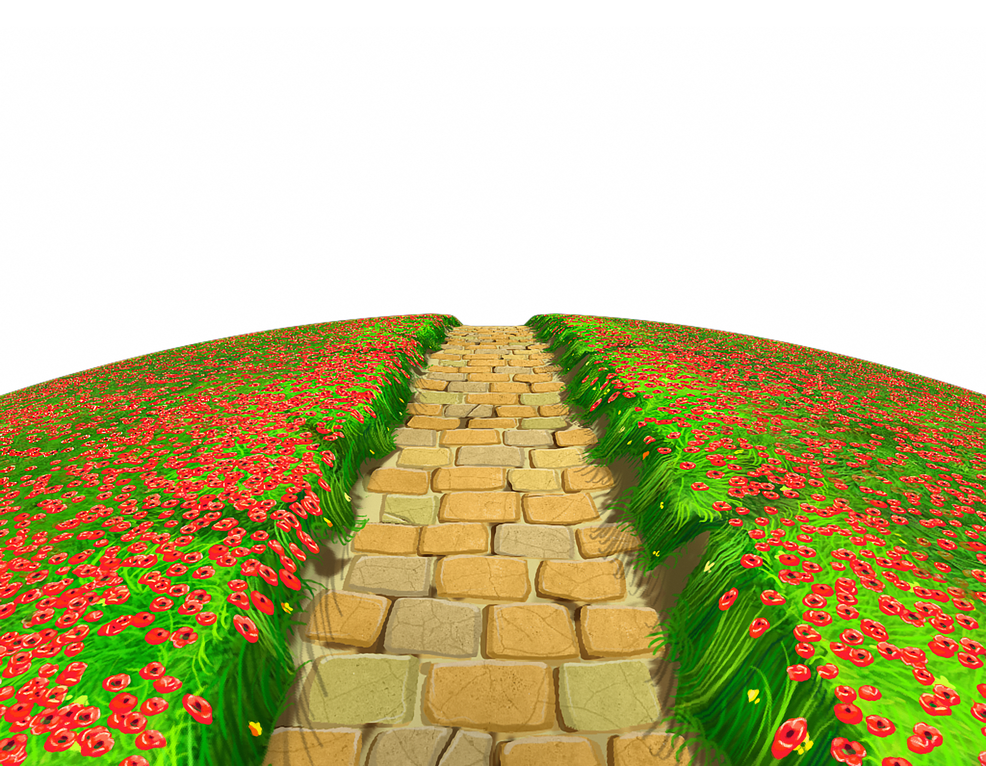 Stone Path with Flowers Ground PNG Clipart.