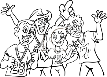 Sports fans rooting for their team coloring page.