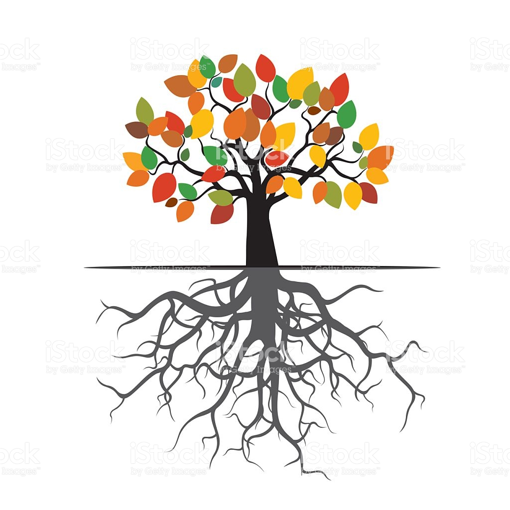 Autumn Tree Color Leafs And Roots stock vector art 490916538.