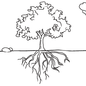 Elizabeth Family Tree Black And White With Roots Clipart.