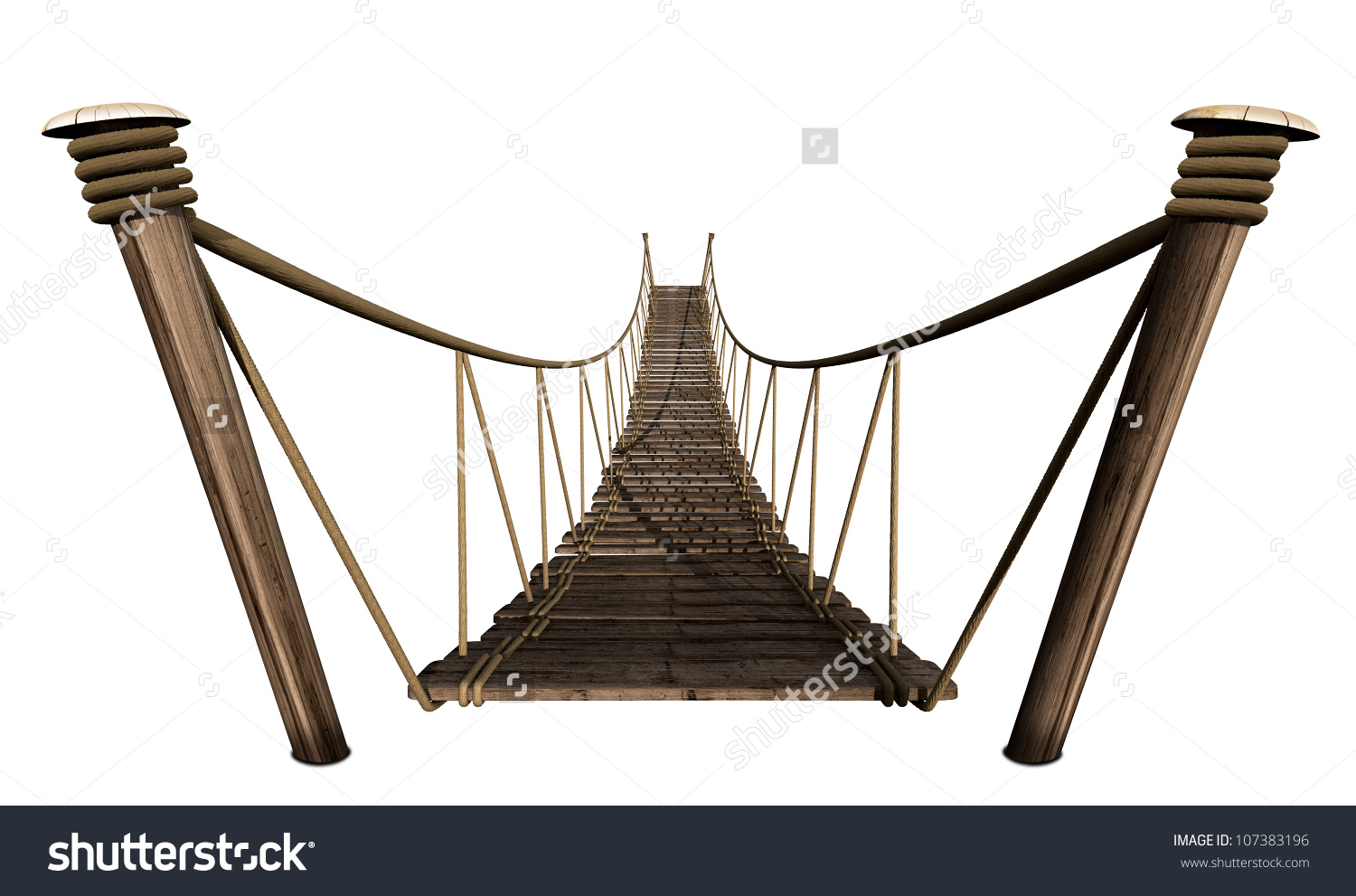 Rope Bridge Made Wooden Planks Held Stock Illustration 107383196.