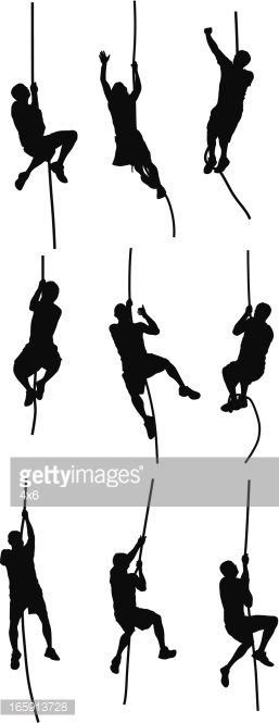 People Climbing A Rope Vector Art.