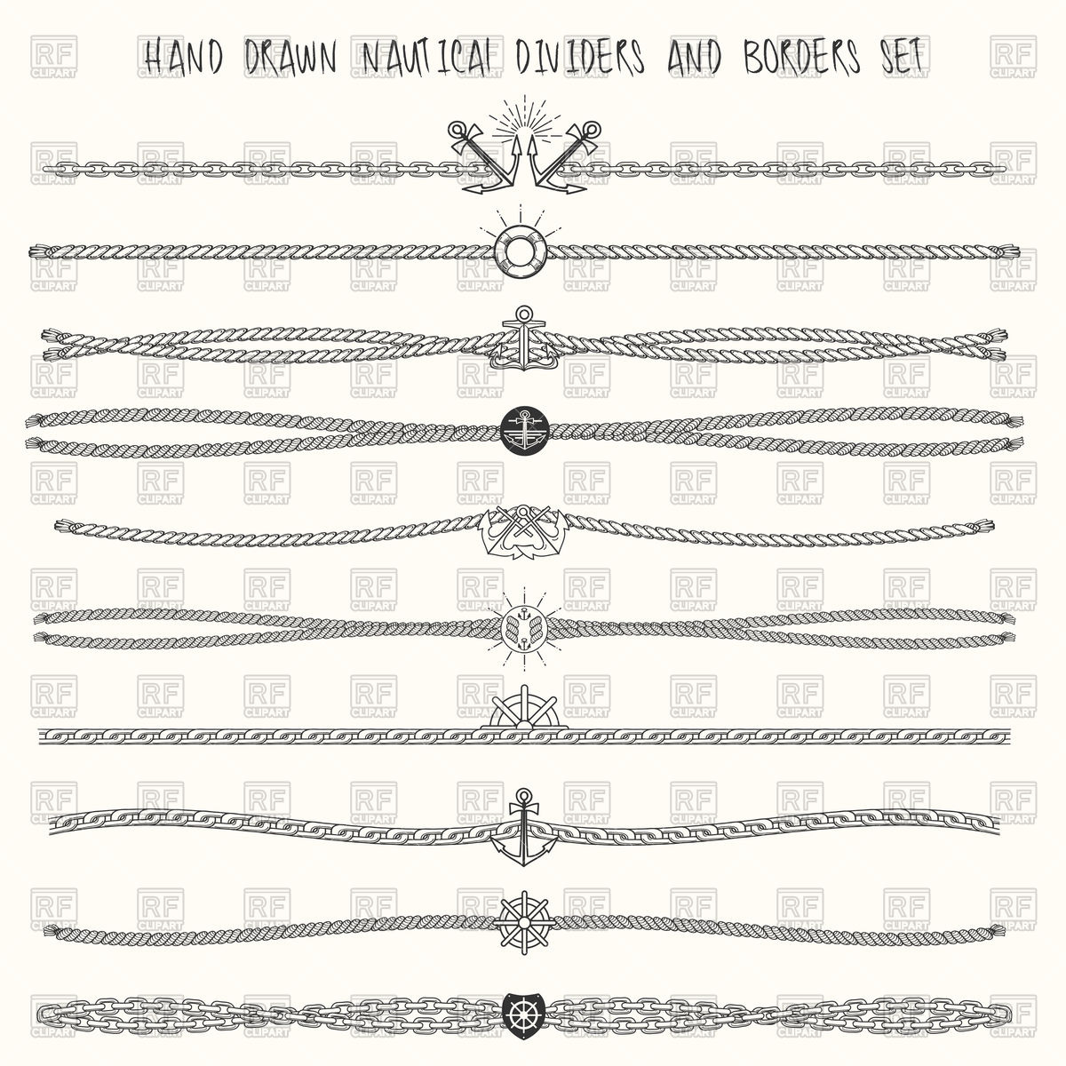 Set of nautical ropes and chains Vector Image #84077.