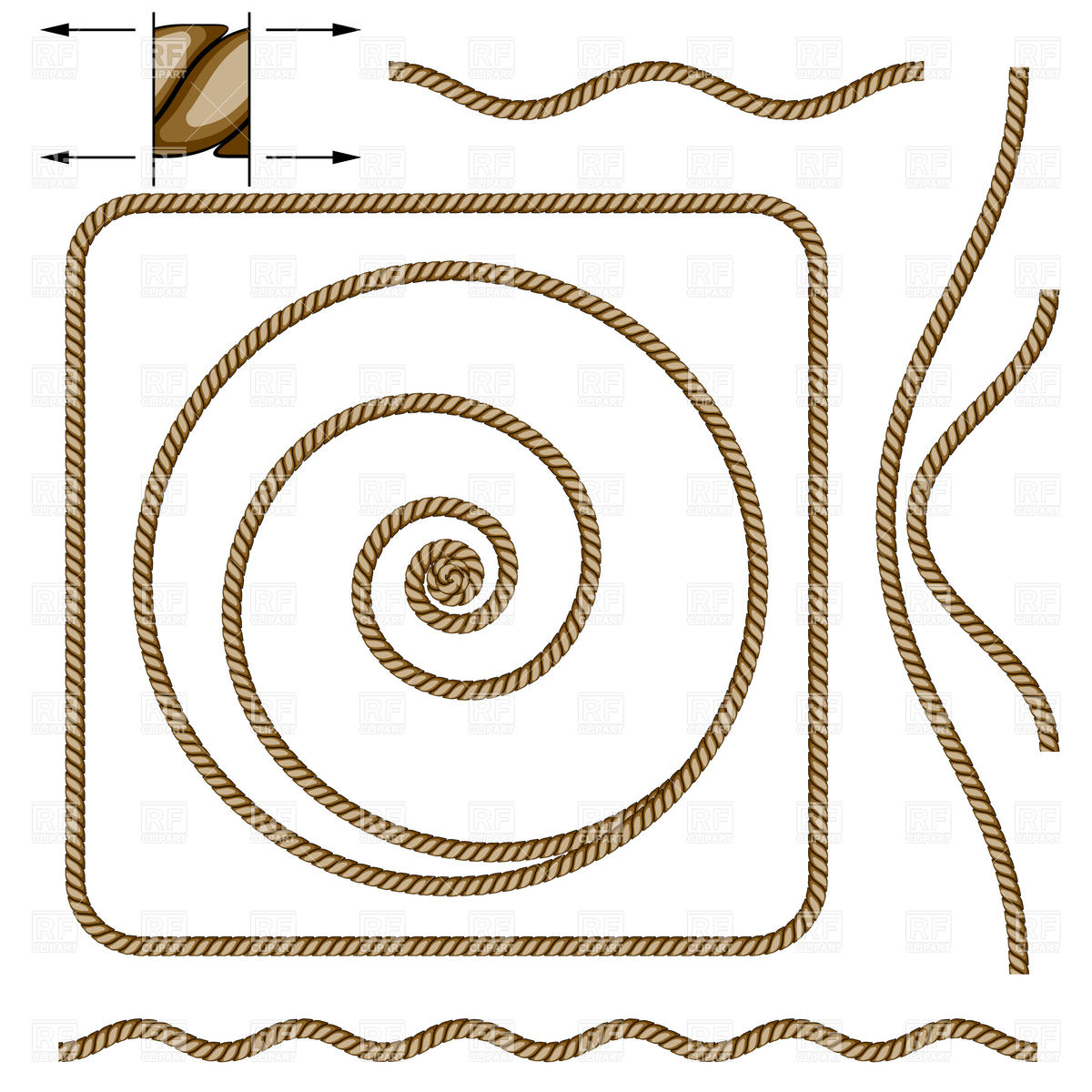 Rope frames and wavy borders Vector Image #8258.